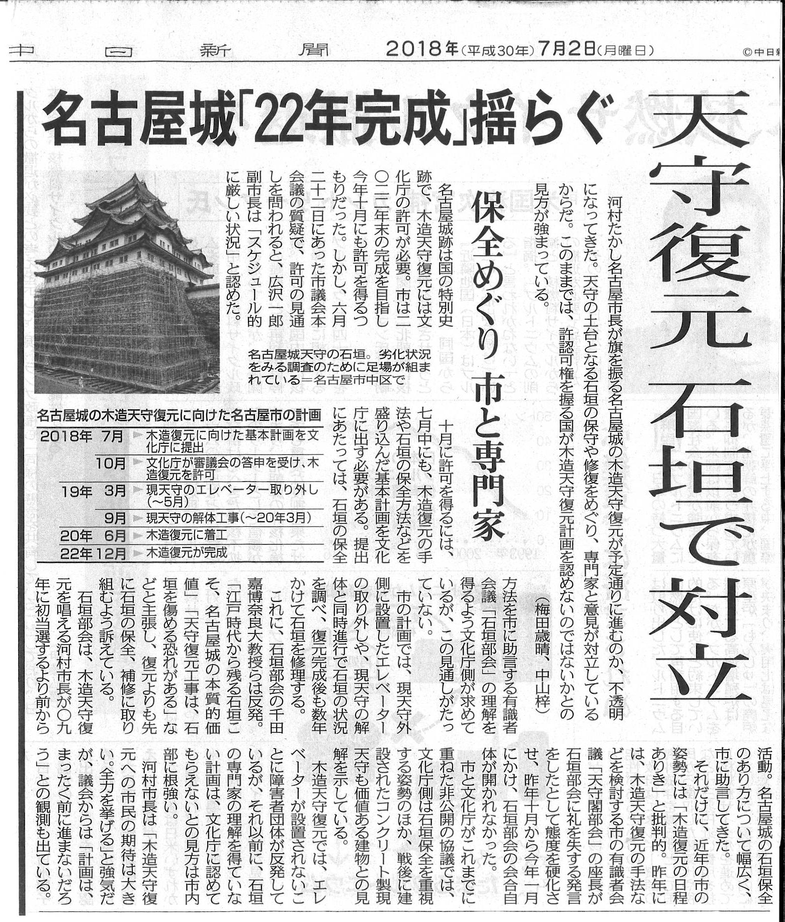 中日新聞(名古屋城天守復元)